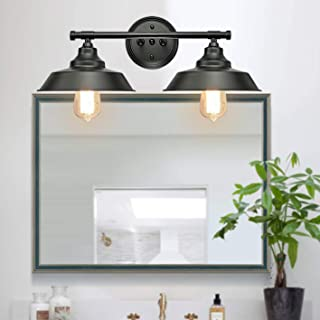 GOODYI 2-Lights Vanity Wall Sconce Lighting, Rustic Style Matte Black Bathroom Light Fixtures Over Mirror Industrial Wall ...