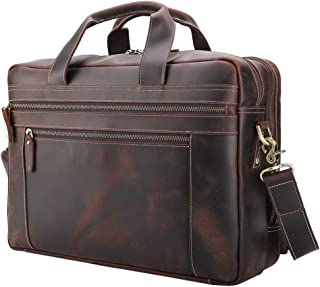 Tiding Men's Leather Briefcases Messenger Bag 15.6