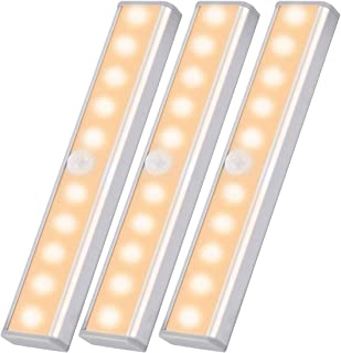 Gluckluz Closet Motion Sensor Light for Bathroom Hallway Stair, 10 LED Bulbs Wireless Night lights, Portable Magnetic Secu...