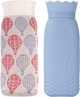 Hot Water Bottle, Iteryn Silicone Heating Bag Microwave Heating Bottle Hand Warmer with Knit Cover - Warmer Pad for Hot Compress Heat and Cool Therapy - 17.6 OZ Blue