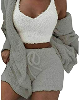 Tricherry Plush Plain Color 3-Piece Set - Fluffy Hooded Long Sleeves Coat Open Front Shorts Vest Set for Women Winter Stylish and Comfortable Home Clothes (Coat, Vest and Shorts)