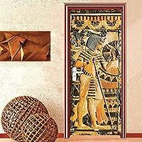 ドアステッカー ホームインテリアドアステッカーヨーロピアンスタイルのレトロな3D救済エジプトのファラオ像の肖像画壁紙PVC自己粘着ドアデカール (Sticker Size : 95x215cm)
