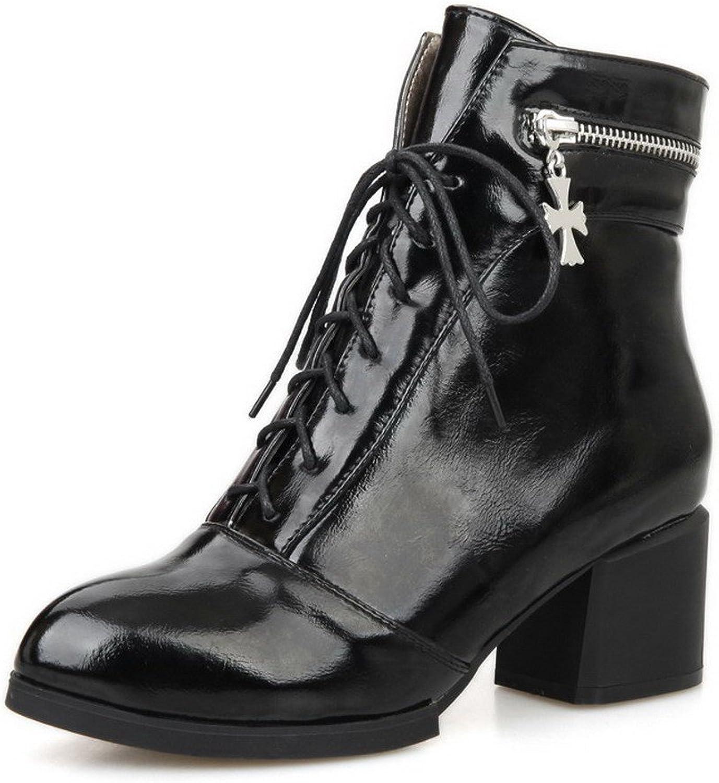 AllhqFashion Women's Blend Materials Round Toe Kitten-Heels Solid Boots