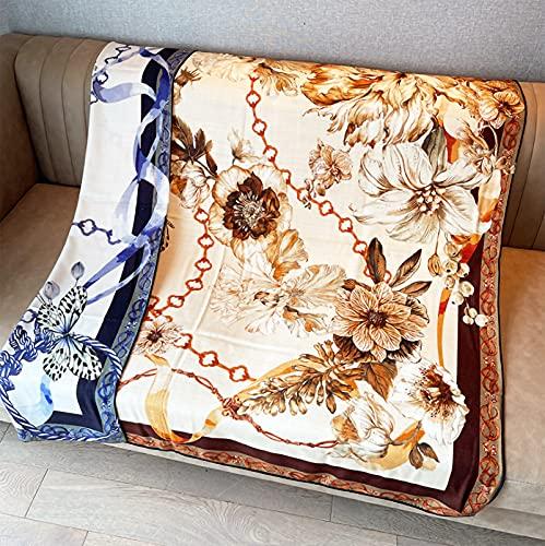 Bufanda de cachemira de seda para mujer otoño e invierno cadena floral retro estampado a doble cara chal bufanda cuadrada de terciopelo bufanda cálida toalla de playa para vacaciones bufanda de moda