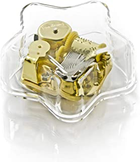 Clear 18 Note Acrylic Star Shaped Musical Paperweight - Over 400 Song Choices - Feliz Navidad