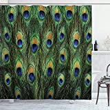 BLSYP Duschvorhang Close-up Picture of Peacock Tail Feathers Bathroom Shower Curtain WaterproofPrivacy Opaque Bathroom Decoration Easy to Clean 72x72inch Contains 12 Hooks