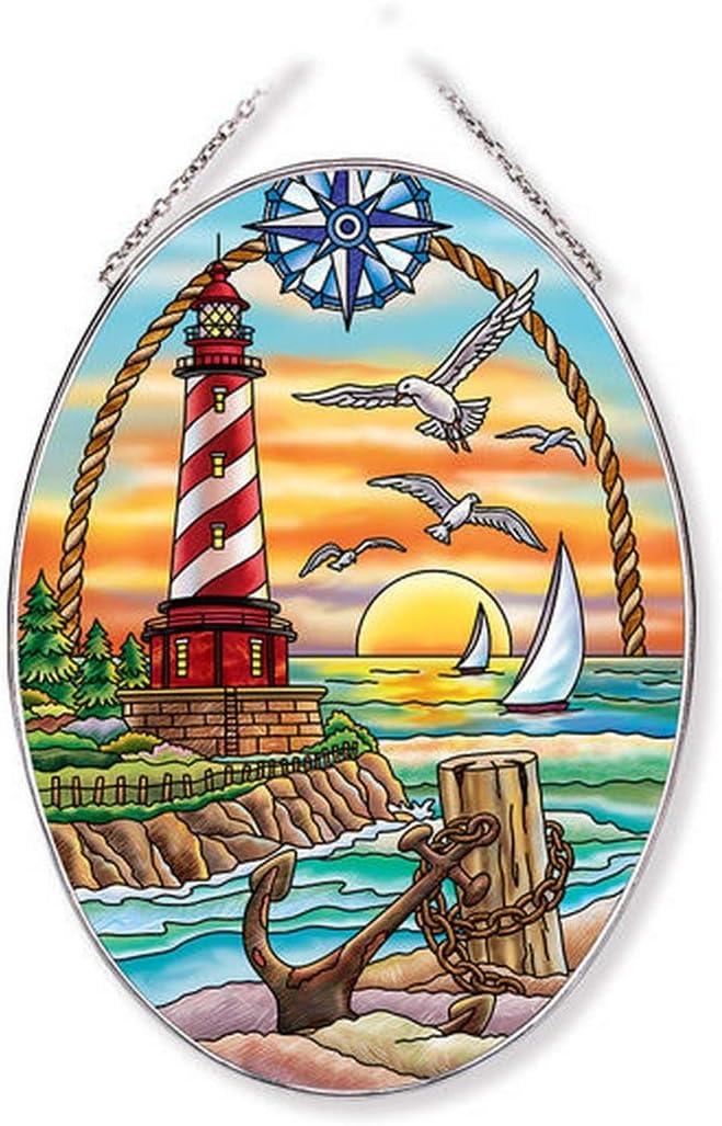 Amia Sunset Harbor Lighthouse Glass Oval Large Multi Ranking TOP4 Columbus Mall Suncatcher