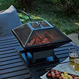 """ZCYY Outdoor fire pit, Outdoor Heater for Wood Burning, 18"""" Fire Pit BBQ Grill on Table, Square Stove with Mesh Spark Guard Cover, Portable Camping Fireplace"""