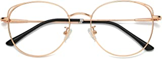 Cat Eye Blue Light Blocking Glasses Hipster Metal Frame...