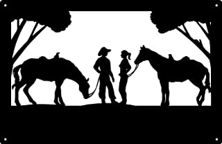 The Metal Peddler Chance Meeting Cowboy and Cowgirl Wall Art (13.5 x 9)
