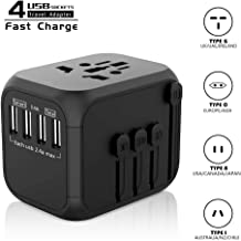 Travel Adapter, International Power Adapter for straightener all-in-one with 4 USB Ports 2x Fast Charger Universal Travel Plug Adapter for Ports - Charge iPhones Converter lightweight US/EU/African 16