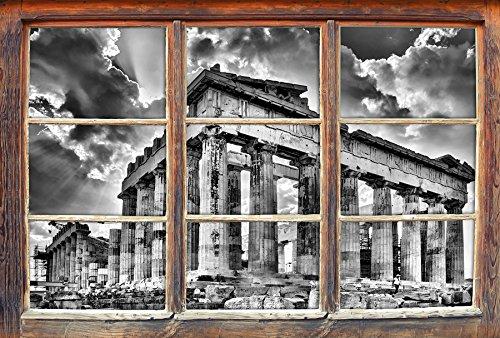 Stil.Zeit Monocrome, Antike Säulen Griechenland Fenster im 3D-Look, Wand- oder Türaufkleber Format: 92x62cm, Wandsticker, Wandtattoo, Wanddekoration