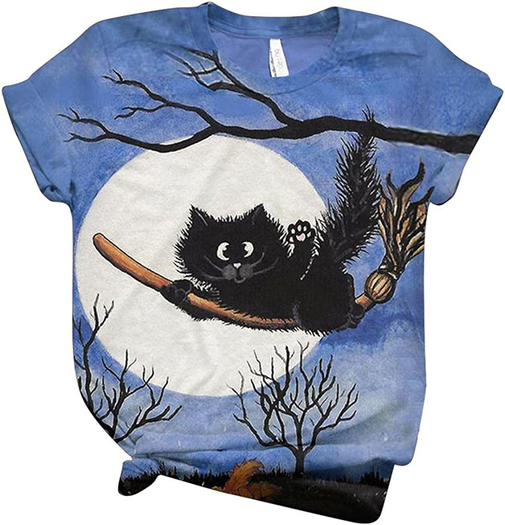 AODONG Halloween Shirts for Women,Womens Tops Plus Size Casual Funny Cute Pumpkin Printed Short Sleeve Blouses Graphic Tees