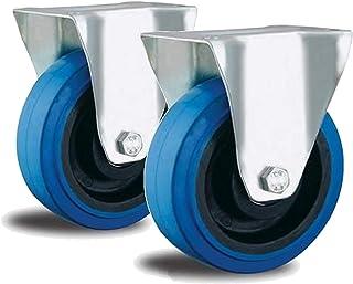 2 bokwielen 100 mm Blue Wheel met wiellagers nylon velg apparaatwielen blauw