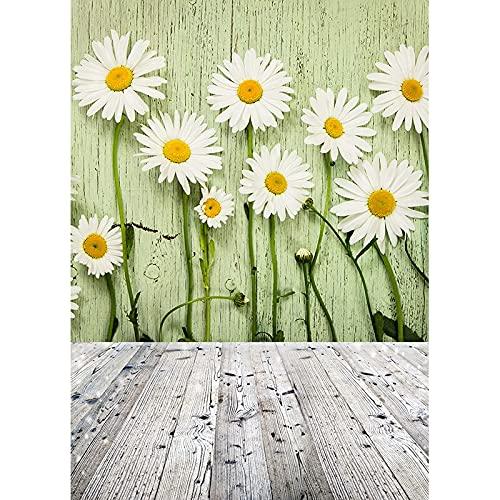 Fondo de fotografía de Primavera Hojas Flor Piso de Madera Fondo de Vinilo Foto de Estudio para niños Recién Nacido Photocall A7 9x6ft / 2.7x1.8m