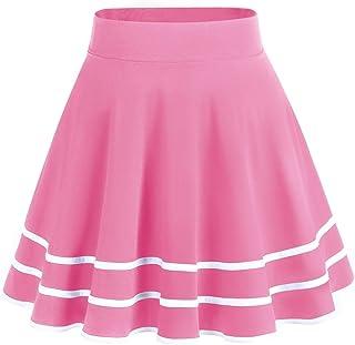 Dresstells Gonna Corta Svasata Mini Gonna da Pattinatrice Versatile Elastica Solida Colore Gonna