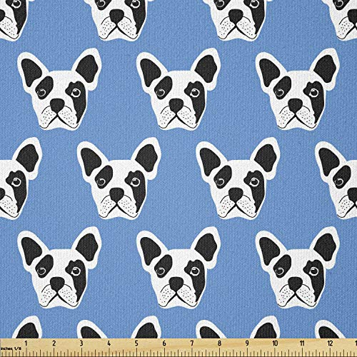 Ambesonne Bulldog Fabric by The Yard, Abstract and Hipster French Bulldog Heads Funny Puppy Pattern Design, Stretch Knit Fabric for Clothing Sewing and Arts Crafts, 1 Yard, White Black