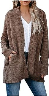 Cardigan da donna, autunno/inverno, a maniche lunghe, con tasche
