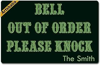 Artsbaba Personalized Your Text Doormat Bell Out Order Please Knock Doormats Monogram Non-Slip Doormat Non-Woven Fabric Floor Mat Indoor Entrance Rug Decor Mat 23.6