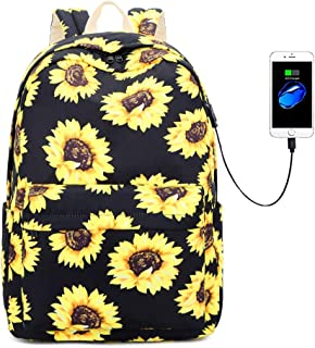 "Lmeison Floral Backpack Bookbags with USB Charging Port Fit for 15.6"" Laptop"