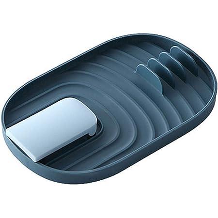 Repose-ustensiles de cuisine,support cuillere cuisine,repose-cuillère et porte-couvercle cuillère pliable et repose-couvercle avec tampon anti-goutte, pour spatule,pinces,cuillères blue