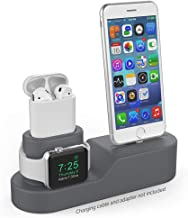AhaStyle 3 in 1 Charging Stand Silicone Compatible with Apple Watch, AirPods and iPhone 11/ Xs/Xs Max/Xr/ 8/8 Plus【iPhone Original Cables Required-NOT Included】(Dark Gray)