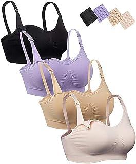 iloveSIA Womens Seamless Sleep Nursing Bra for Breastfeeding Clip Down Maternity Bras Pack of 4