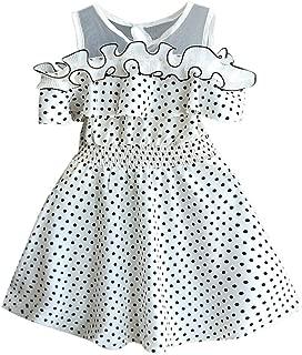 Sameno Toddler Kids Baby Girls Dot Printing Summer Dress Birthday Party Princess Formal Outfit