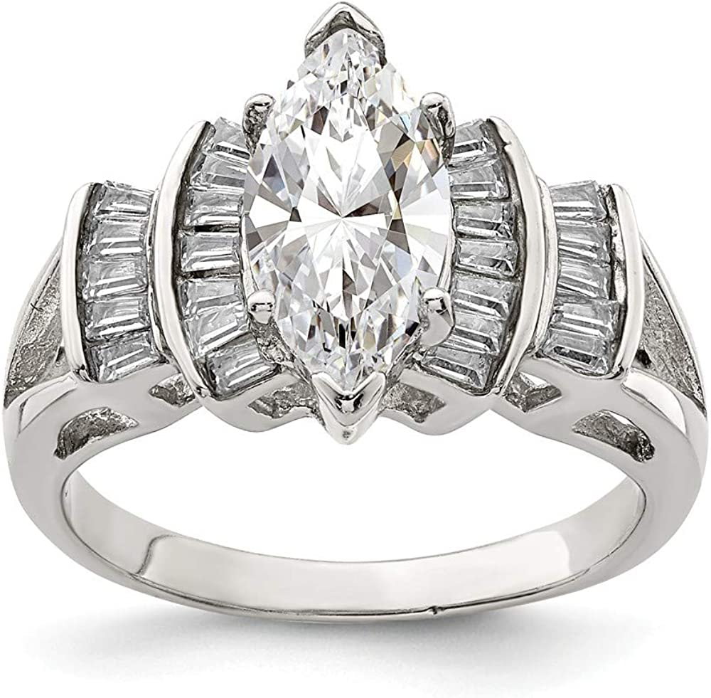 925 Sterling Silver Marquise Shape Cz Center Cubic Zirconia Band Super sale Popular product