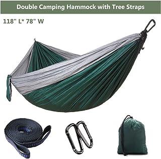 Portable Double Camping Hammock with Tree Straps - Lightweight Nylon Hammock with Tree Straps, Portable Parachute Hammock,...