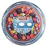 Pyrex Set 2 Fuentes Bake & Enjoy 828B + 813B Moldes tarta, Vidrio borosilicato, Transparente