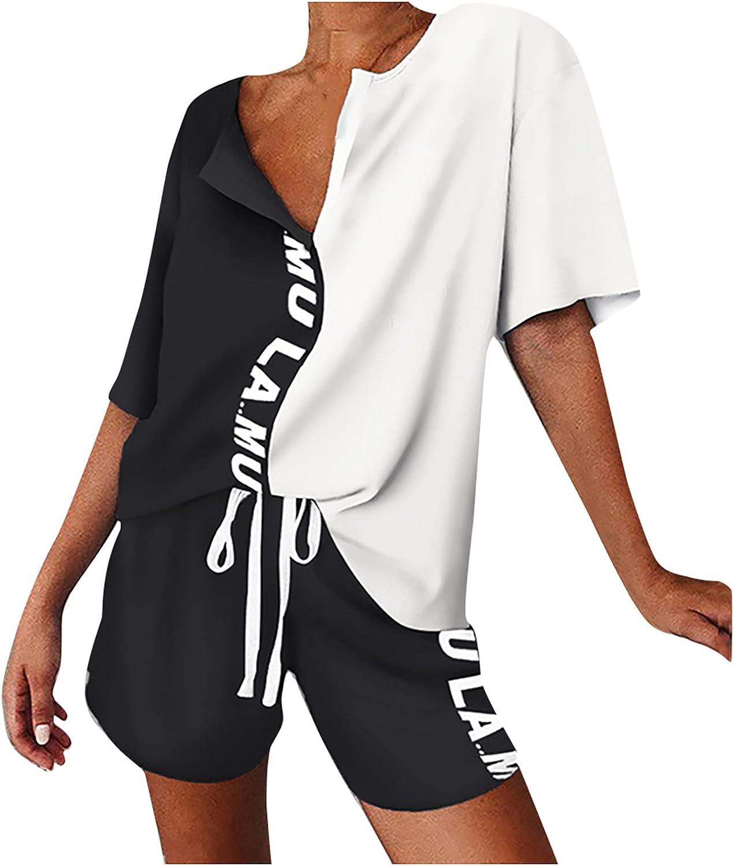 Uppada Women's Two Piece Outfits Pajamas Set Casual Short Sleeve Lounge Drawstring Shorts Loose Fit Tracksuit Sleepwear