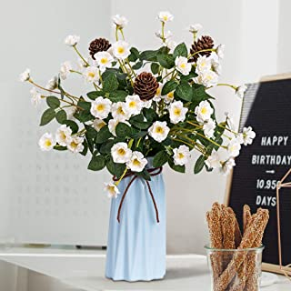 YILIYAJIA Rose with Vase Mini Artificial Rose Flowers with Ceramic Vase Cute Flowers Pinecone Centerpieces Decorations for Home Table (White)