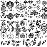 SUI-lim 8 Blätter Groß Schwarz Temporäre Tattoos, Körperkunst Tattoo Aufkleber Fake Arm Tattoos für männer Frauen Handhals Handgelenk