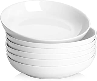 Y YHY Pasta Bowls,Large Salad Serving Bowls,White Soup Bowl Microwave Safe,Sturdy Porcelain,30 Ounces,Set of 6