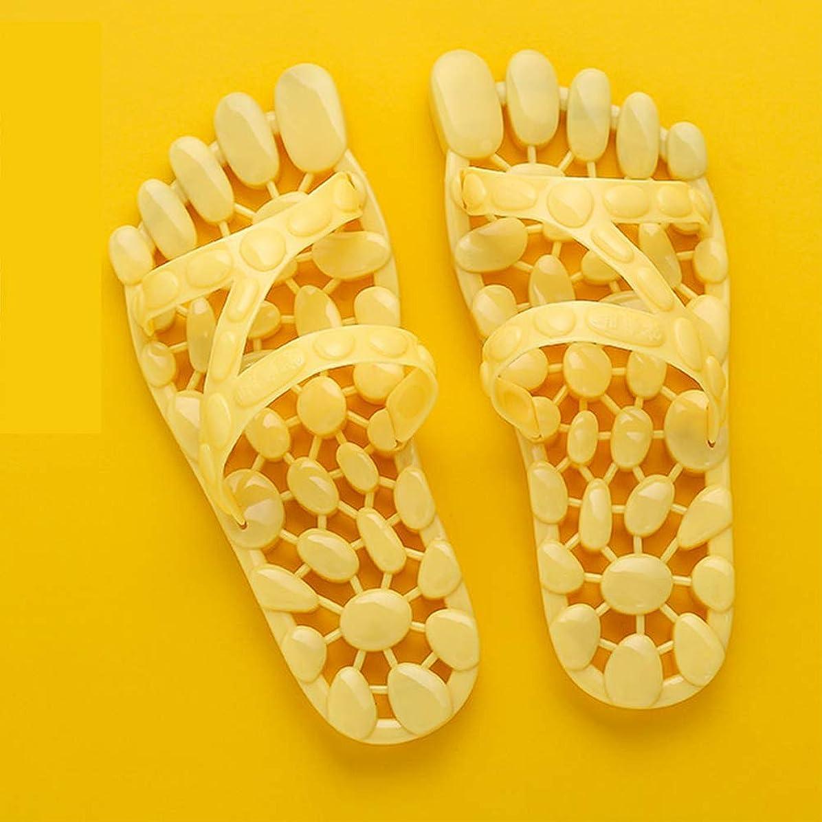 自治病弱音楽マッサージスリッパpvc中空デザインを軽減するために足底筋膜筋肉関節痛足の健康足マッサージ浴室ホームマッサージ靴,Yellow,M