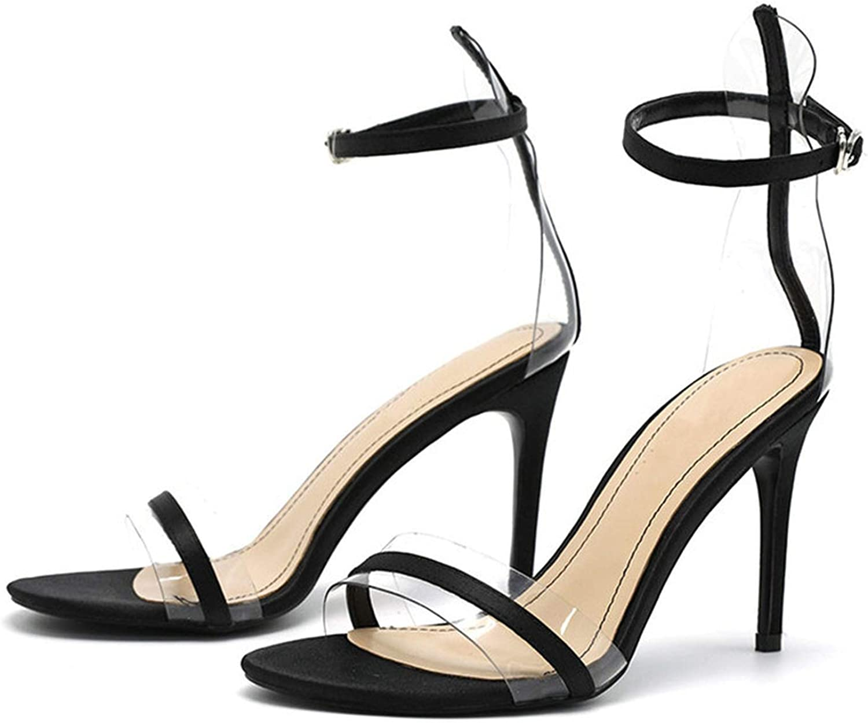 Woman Sandals Black Strap PVC 9 cm High Heels Fashion Summer shoes Women Pump Sandals Office and Career Sandals