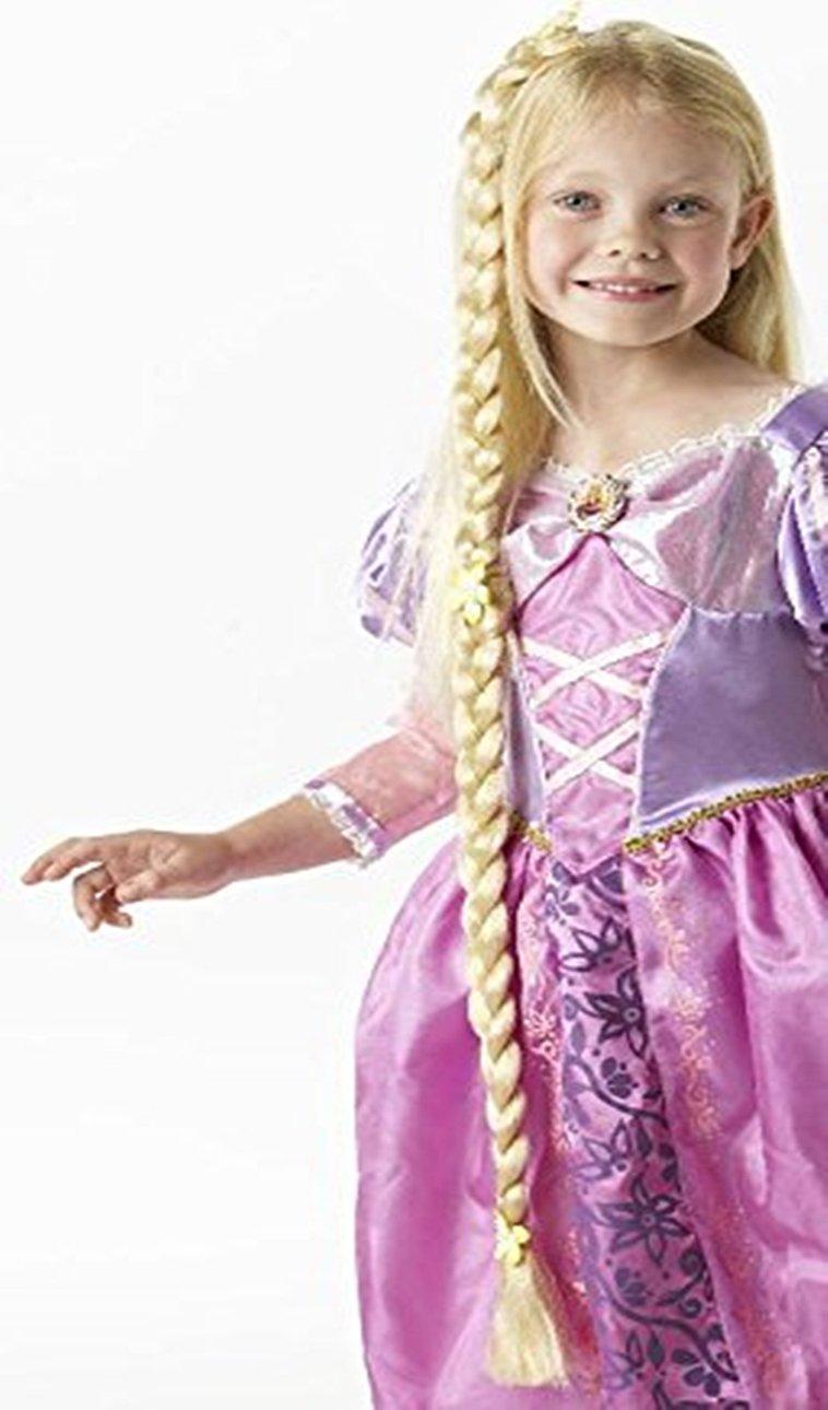 Peluca con trenza para disfraz infantil de Rapunzel de Disney ...