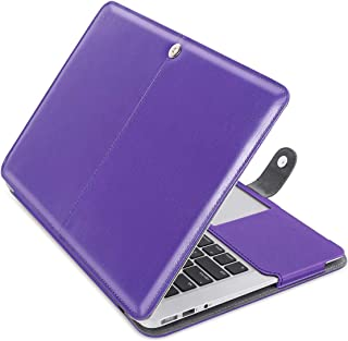 MOSISO Case Only Compatible with MacBook Air 13 Inch A1466 / A1369 (Older Version Release 2010-2017), Premium PU Leather Book Folio Protective Stand Cover Sleeve, Ultra Violet