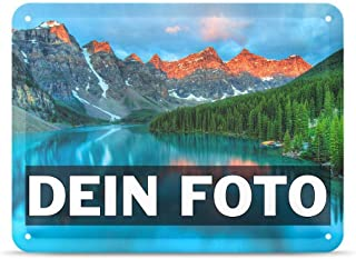 Individualitäts-Tipp Tassendruck Blech-Schild mit Foto und Text selbst gestalten/Personalisierbar mit eigenem Bild als Metall-Poster / A5 15x21cm im Querformat/Weiss