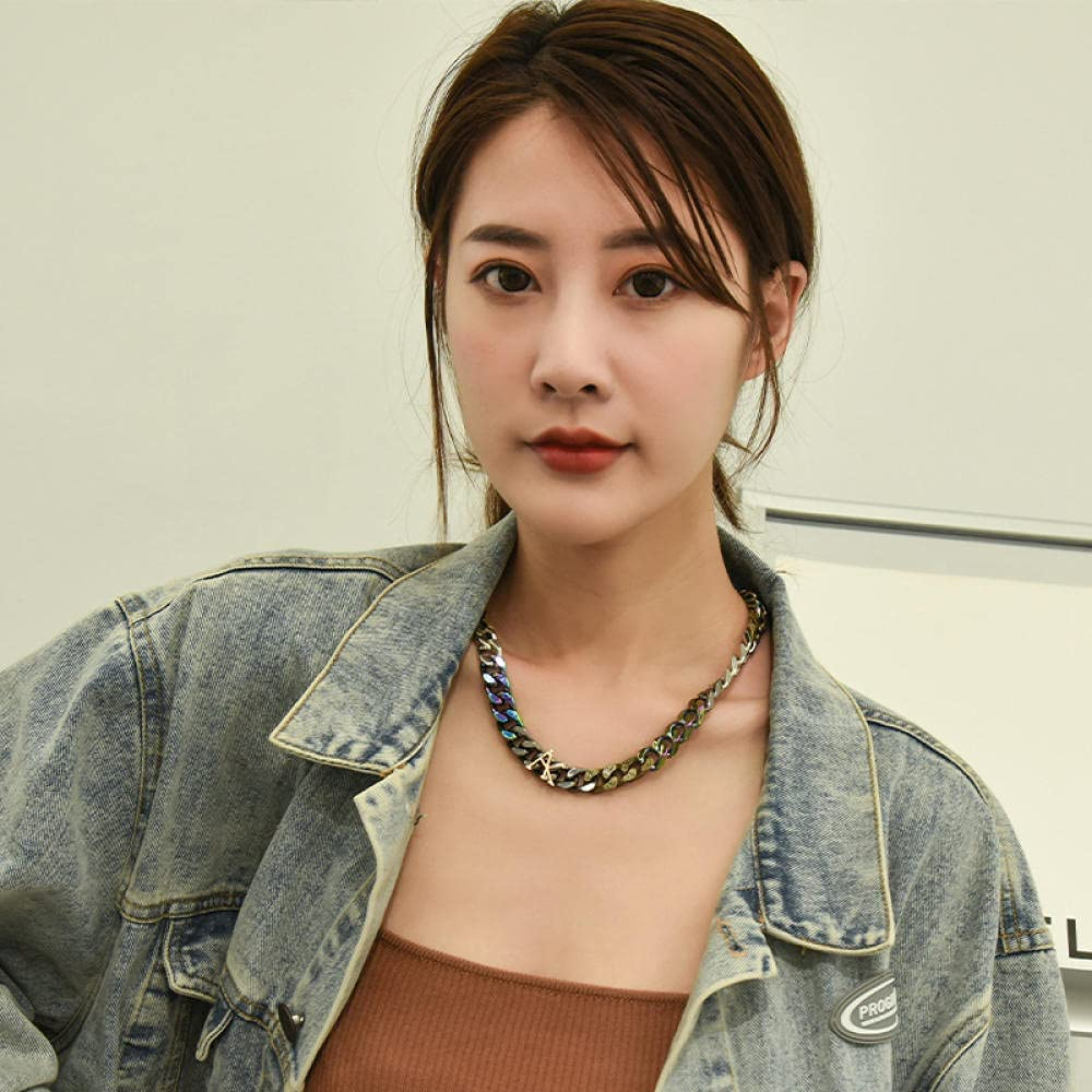 Colorful Retro Hip Hop Cuban Necklace DIY Thick Chain Fashion Clavicle Chain