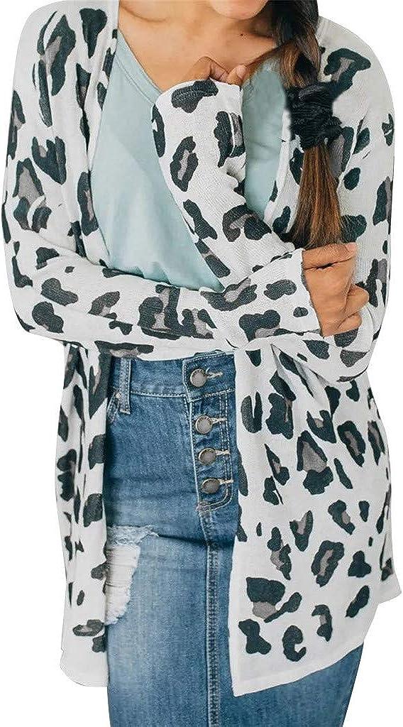Misaky Women's Leopard Print Cardigan Shawl Collar Open Front Lightweight Boyfriend Long Sleeve Long Outwear Tops