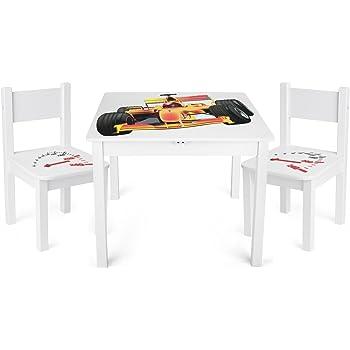 Leomark Mesa y sillas de Madera para niños, 1 Mesa y 2 Silas ...