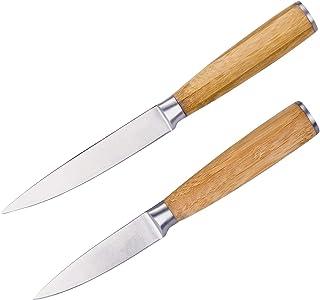 bremermann Jeu de 2 couteaux de cuisine avec manche en bambou, 12 cm & 23,5 cm, lame en acier inoxydable