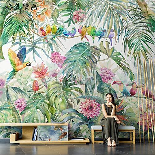 TV Hintergrundbild Nordic tropischen Pflanzen Tapete Dschungel Papagei Wandbilder Wohnzimmer TV Hintergrundbild nahtlose Wandverkleidung 3D Wandbild Wandbild Tapete Fototapete Wandbilder-300cm×210cm