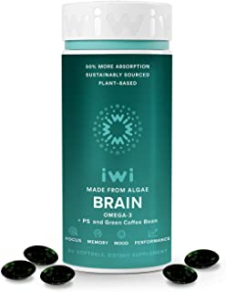 iwi Brain Omega 3 + PS & Green Coffee Bean Extract, Made from Algae, 50% Better Absorption, Vegan, Non GMO, Gluten Free, S...