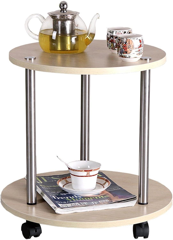 Zr- Living Room Small Round Table Tea Table Tea Table Circular Coffee Table Moving Table Tea Table Balcony Table Tea Rack (color   Wood)