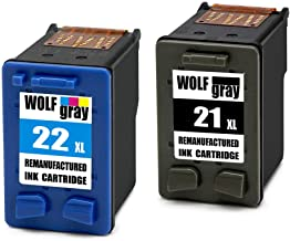 Wolfgray 21XL 22XL Remanufacturado para HP 21 XL 22 XL Cartuchos de tinta (1 Negro, 1 Tricolor) para HP Deskjet 3940 F2280 F2180 F380 F4180 D1460 D1530 D2360 D2460, HP PSC 1410, HP Officejet 4315