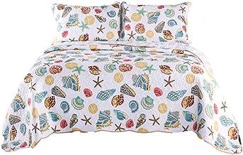 Bedspread Bedding,Seashell Beach Quilt Set Underwater Theme Comforter Set 100% Cotton Seaweed Bedspread Quilt Bedding Seas...