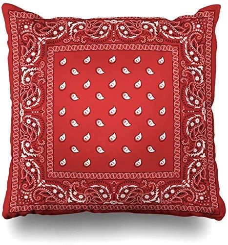 Mesllings Kussenhoezen Vierkant Groen Patroon Klassieke Paisley Bandana Sjaal Border Zwarte Vintage Kerchief Home Decor Kussensloop Kussensloop, 45X45Cm